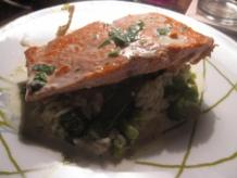 Salmon with Creme Fraiche-Basil Sauce